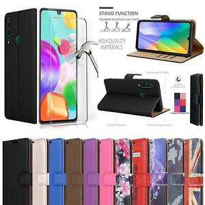 For Huawei Y6P Wallet Case, Magnetic Flip Leather Phone Cover + 9H Screen Glass
