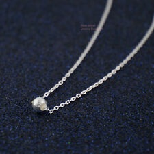 """925 Sterling Silver Tiny Ball Bead Dot Pendant Charm Necklace 16"""" A2803"""
