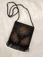 Vintage Black Satin And Glass Beaded Shoulder Bag / Evening Bag