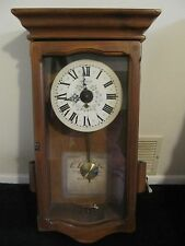 Vintage New England Clock 8 day Wall Clock with Pendulum and Key