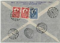 Peru 1933 to New York Air mail with different cancels Stamps Cover ref R 16305