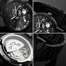 1PC Mode Schwarz Skeleton Mechanisch Herrenuhr Automatik Edelstahl Armband Uhr