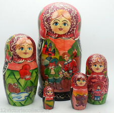 Puss in Boots Russian Hand Carved Hand Painted Nesting Dols set FAIRY TALE