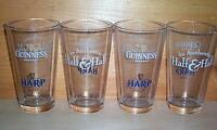 GUINNESS HALF & HALF 4 PUB BAR BEER PINT GLASSES NEW