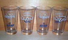 GUINNESS HALF & HALF 4 PUB BAR BEER PINT GLASSES NEW