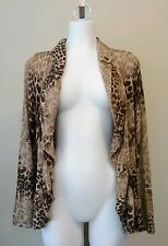 Chicos Animal Print Open Front Cardigan Size 0 Small 8-10