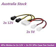 4Pin Molex LP4 Power to 2x 12V + 2x 5V 3Pin Case Fan Socket Converter Adapter