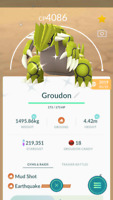 Pokemon Trade GO - Shiny Groudon Level 40 Max CP for PVP Master League