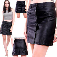 New Women's Girls Ladies Faux Leather Button Front A-LINE FRONT Skirt PU Vintage