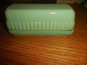 Jadeite Green Glass  STICK  Butter Dish & Lid