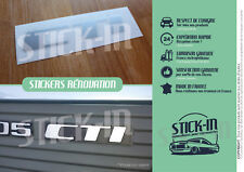 Autocollant Stickers Peugeot 205 CTI Renovation Monogramme Logo Rear Coffre Rape