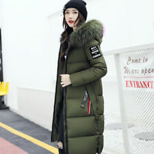 Women's Winter Slim Hooded Long Padded Jacket Cotton Jacket Coat Parka Army Green 2xl