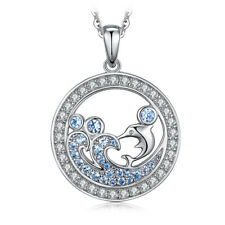 JewelryPalace Spinel Cubic Zirconia Ocean Dolphin Pendant 925 Sterling Silver