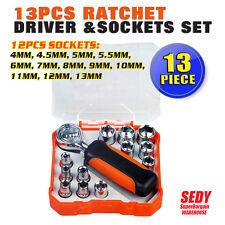 """13 Piece 1/4"""" Ratchet Wrench Socket Spanner Set 4-13mm Socket Bit Kit Hex Driver"""