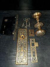 Antique Victorian Ornate Door Knobs Back Plates & Lock Set & Keys