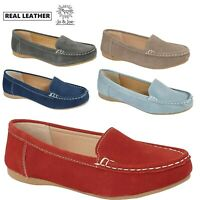 Ladies Real Leather Womens Slip On Moccasin Flat Boat Shoes Comfy Loafers Size