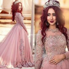 2018 Lace Pink Muslim Wedding Dresses Appliques Beading Long Sleeves Bridal Gown