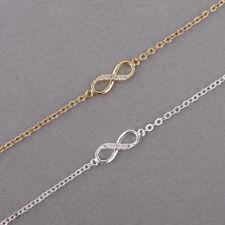 Fashion Infinity 8 Bracelet Crystal Jewellery Womens Charm Bangle Silver Gold