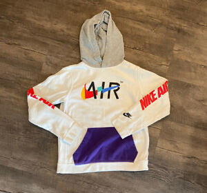 Nike Air Youth Game Changer Hoodie Sweatshirt XL White Graphic Spell Out Swoosh