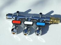 Caravan Gas Manifold 3 way test point and straight inlet to 8mm copper pipe.
