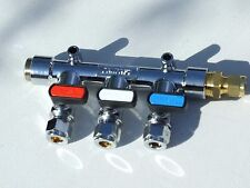 LPG Gas Manifold 3 tap with straight inlet 3/8 BSP to 8mm copper.