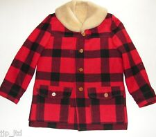 The Sheep Shack Boise, Idaho Sheepskin Shearling Leather Coat Men's 42 Red Plaid