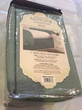 "Diamond Matelassse Tailored King Bed Skirt In Aqua 15"" Drop 78 x 80 in New"
