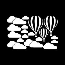 White Clouds Hot Air Balloon Wall Art Sticker Background Home Decor Mural Decals