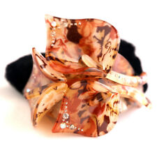 Rhinestone Lily Brown Hair Tie with Black Velvet Scrunchie Ponytail Elastic