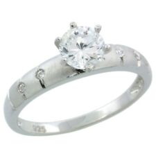 Silver 1ct Vs1-D Ideal Cut Simulated Diamond Bridal Solitaire Engagement Ring