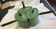 Vintage Green Enamel Pots/Pans + Lids: Stovetop Set: 3 Fitted Pie/Wedge-Shaped