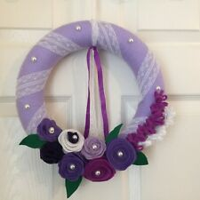 Handmade Felt Floral Wreath Lilac 30cm wrapped in lace ribbon