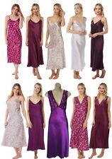 Ladies Full Length Purple Satin Chemise Nightdress PLUSSIZE 20 22 24 26 28 30 32