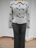 ST. JOHN Sport Gray Pant Gray on Gray Peggy Jennings Jacket Pant Suit Sz 6