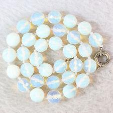 Popular 8mm Round Faceted Sri Lanka Moonstone Gemstone Necklace 18 ''AAAA