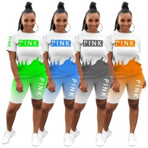 Women Short Sleeves Multi Color Casual Sports Short Set Two Piece FREE SHIPPING