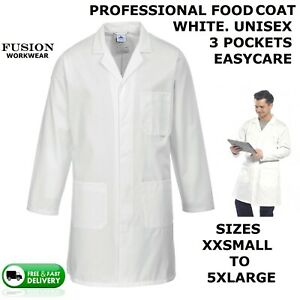 FOOD COAT WHITE,BUTCHERS,DIARY,MENS,LADIES,SHOW,FARM,VET,BAKERS,CATERING,KITCHEN