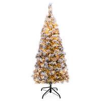 BCP Pre-Lit Snow Flocked Artificial Pencil Christmas Tree