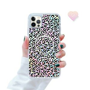 Animal Print Phone Case Cover And Finger Holder Stand For Apple Samsung 285-7