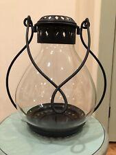 "POTTERY BARN NAPA LANTERN 16"" NEW BLACK METAL HURRICANE GLASS PILLAR CANDLE HOLD"