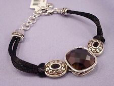 Brighton VENUS RISING Rope Bracelet Silver with Faceted AB Black Crystal NEW