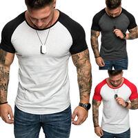 Muscle Mens Baseball O-Neck Short Sleeve Shirt Casual Fit T-Shirt Summer Tee Top