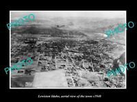 OLD POSTCARD SIZE PHOTO LEWISTON IDAHO AERIAL VIEW OF THE TOWN c1940