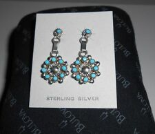 Sterling Silver Earrings w/9 Round Small Turquoise Stones Zuni Gervase Mahkee