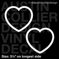 "Set of 2 * 3.5"" HEART s2 vinyl decal car window laptop sticker - classic outline"