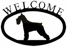 Wrought Iron Welcome Sign Schnauzer Silhouette Outdoor Dog Plaque Decor
