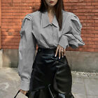 UK 8-24 Ladies Vintage OL Office Tops Puff Sleeve Striped Womnes Shirt Blouse