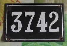 Large old black French house number 3742 door gate wall plate enamel metal sign