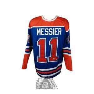 Mark Messier Autographed Edmonton Oilers Custom Blue Hockey Jersey - JSA COA