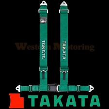 Takata Seat Belt Harness: Drift III 4-Point ASM - Green (Snap-On) 70002US-H2